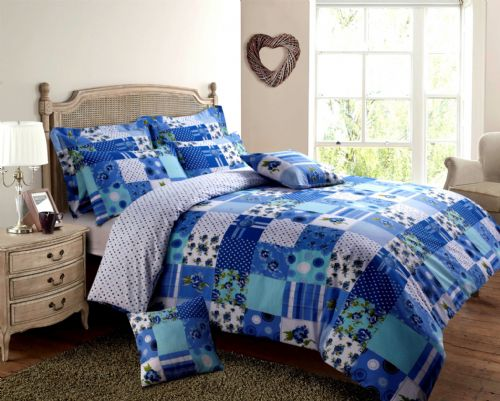 BLUE & TURQUOISE COLOUR PATCHWORK DESIGN REVERSIBLE BEDDING DUVET QUILT COVER SET